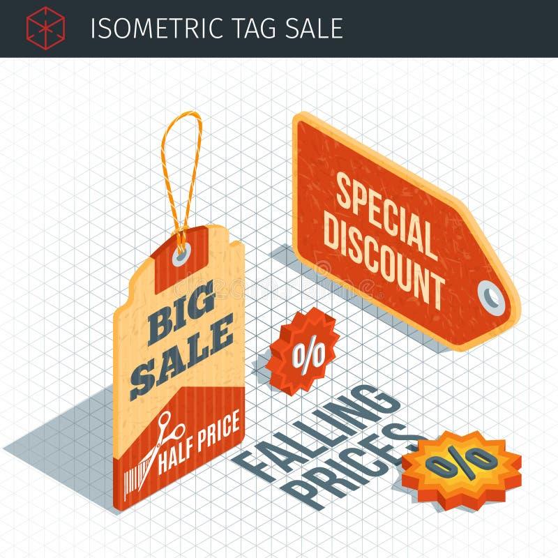 Isometrische Verkaufsaufkleber lizenzfreie abbildung