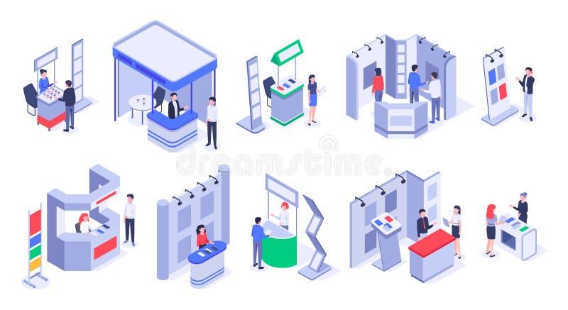 Isometrische verkooptribunes Expo-demonstratietribune, de handelsboxen van de producttentoonstelling en 3d vectorreeks van gebeur royalty-vrije illustratie
