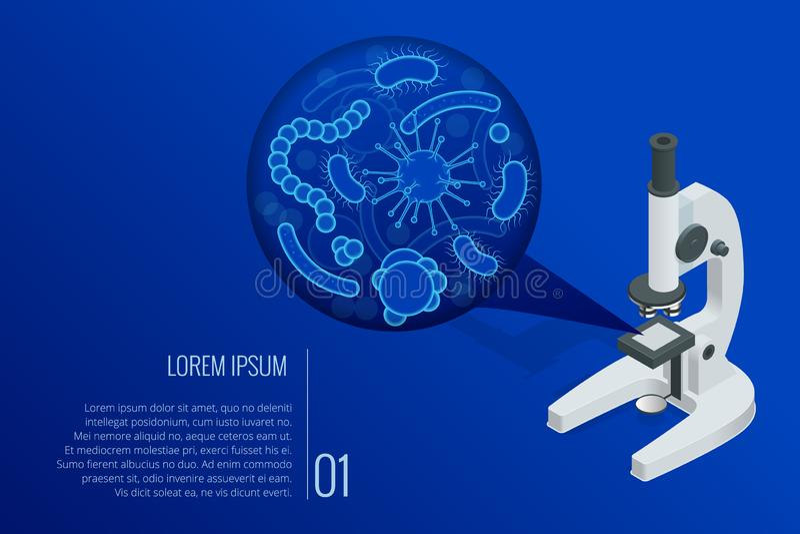 Isometrische verschillende laboratoriumlens van microscoop en close-up microscopische lichaamsmicro-organismen ziekte-veroorzaakt royalty-vrije illustratie