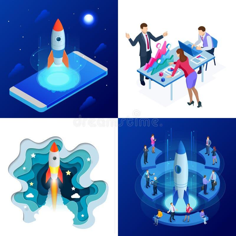 Isometrische vier Konzepte von Businnes fahren oben zur Webseite, Fahne, Darstellung, Social Media ab Einkommen und Erfolg lizenzfreie abbildung