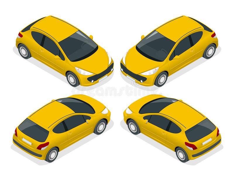 Isometrische vijfdeursauto Isometrische Vectorillustratie De reeks voorwerpen tegen schrijft achtergrond die en getoond worden ge stock illustratie