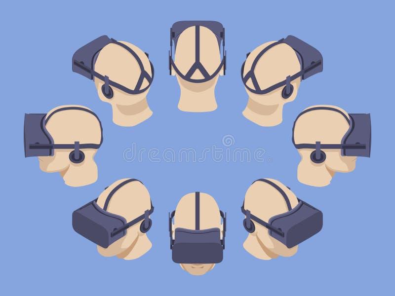 Isometrische virtuele werkelijkheidshoofdtelefoon royalty-vrije illustratie