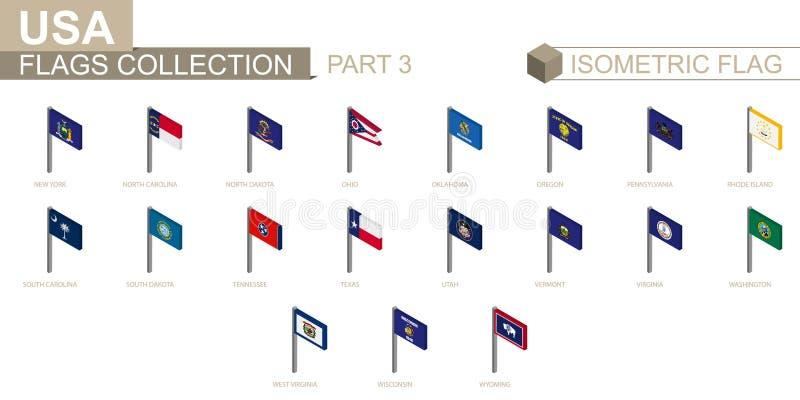 Isometrische vlaginzameling, de Staten van de V.S. geplaatst deel 3 royalty-vrije illustratie