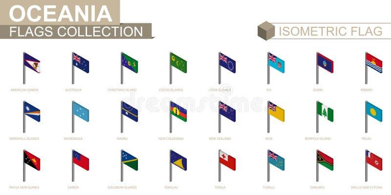 Isometrische vlaginzameling, landen van Oceanië royalty-vrije illustratie