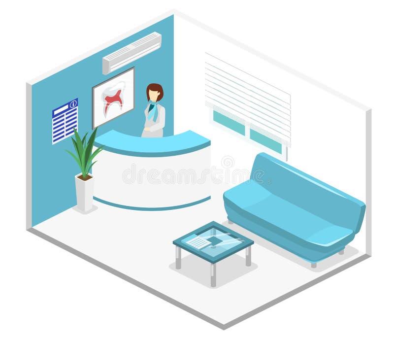 Isometrische vlakke 3D binnenlandse Tandheelkundewachtkamer Tand kliniek vector illustratie