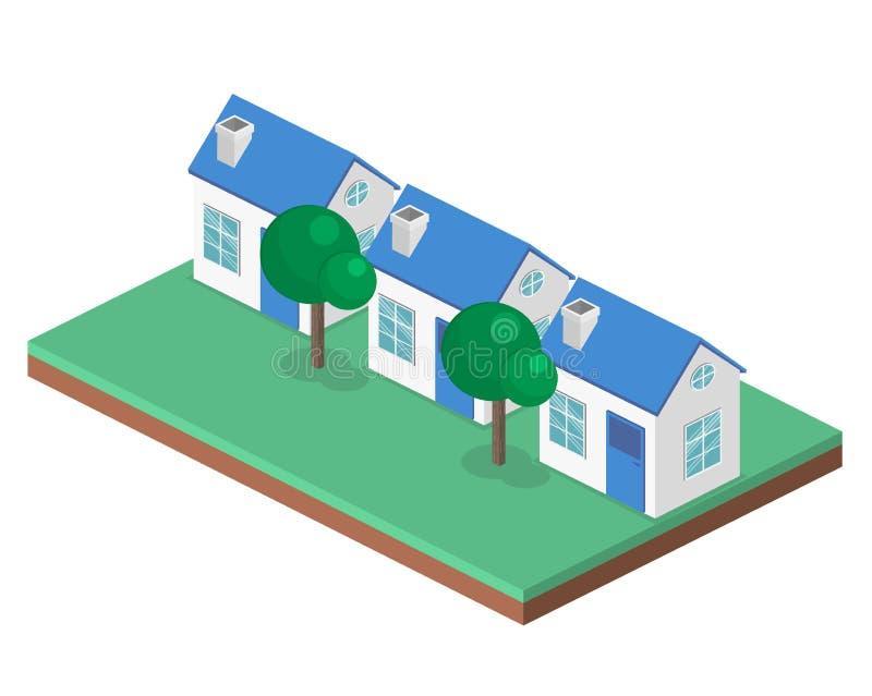 Isometrische vlakke 3D cityscape District met kleine single-storey huizen stock illustratie