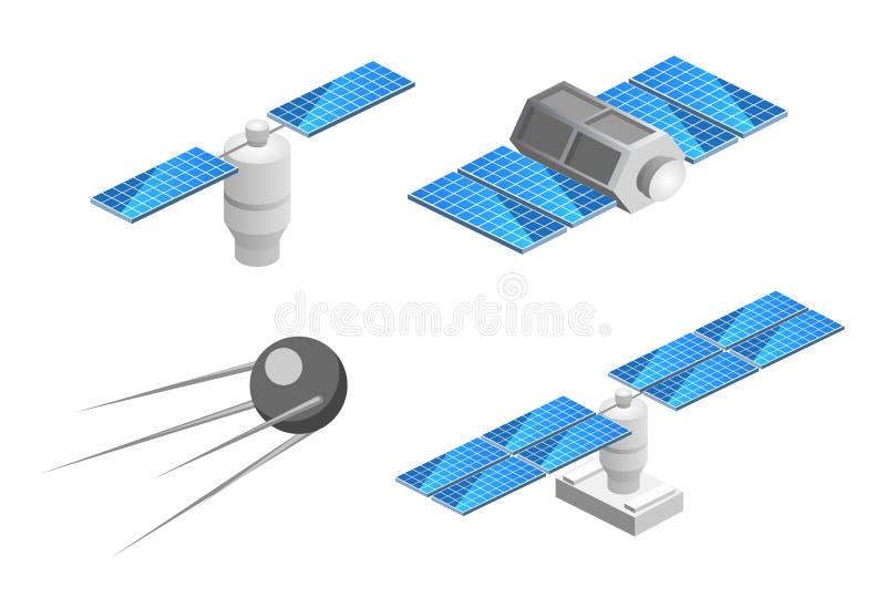 Isometrische vlakke 3D geïsoleerde ruimtegps-satelliet Draadloze satelliettechnologie royalty-vrije illustratie