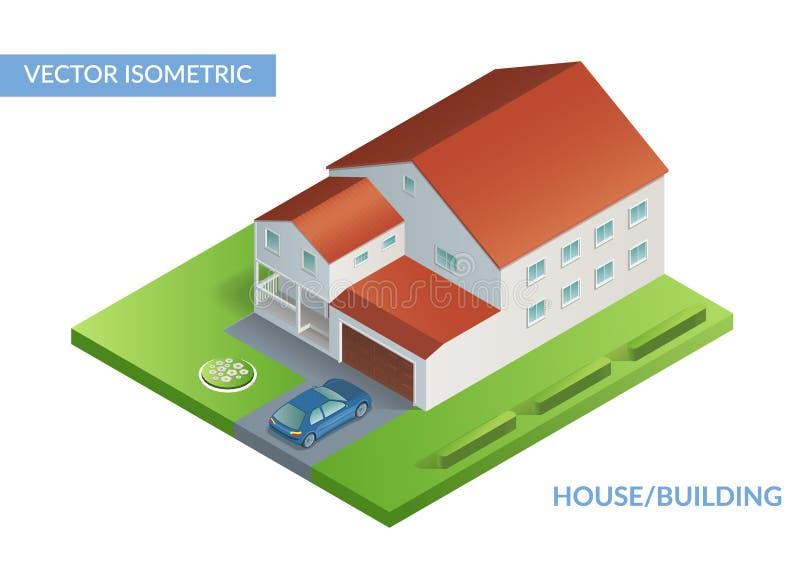 Isometrische vlakke illustratie met huis en werf met auto vector illustratie