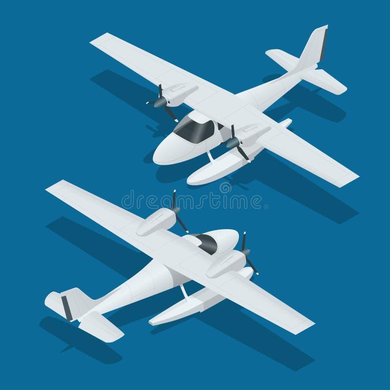 Isometrische vliegtuig hydrovliegtuigen Luchtvervoerinfographics, vectorillustratie stock illustratie