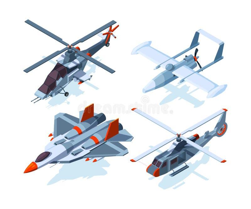 Isometrische vliegtuigen De gevechtsvliegtuigen en de helikopter isoleren op witte achtergrond royalty-vrije illustratie
