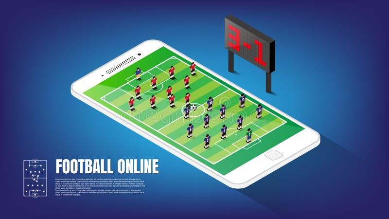 Isometrische voetbal online toepassing op smartphonevertoning, vectorillustratie stock illustratie