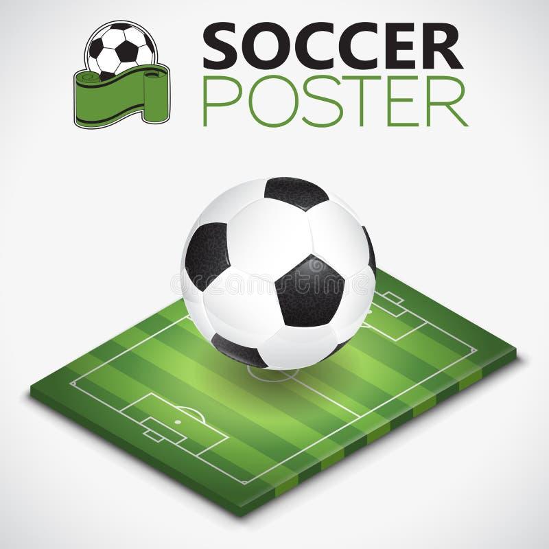 Isometrische Voetbalgebied en Bal royalty-vrije illustratie