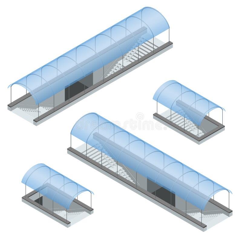 Isometrische voetmetro onder de weg Ondergrondse passage vector illustratie