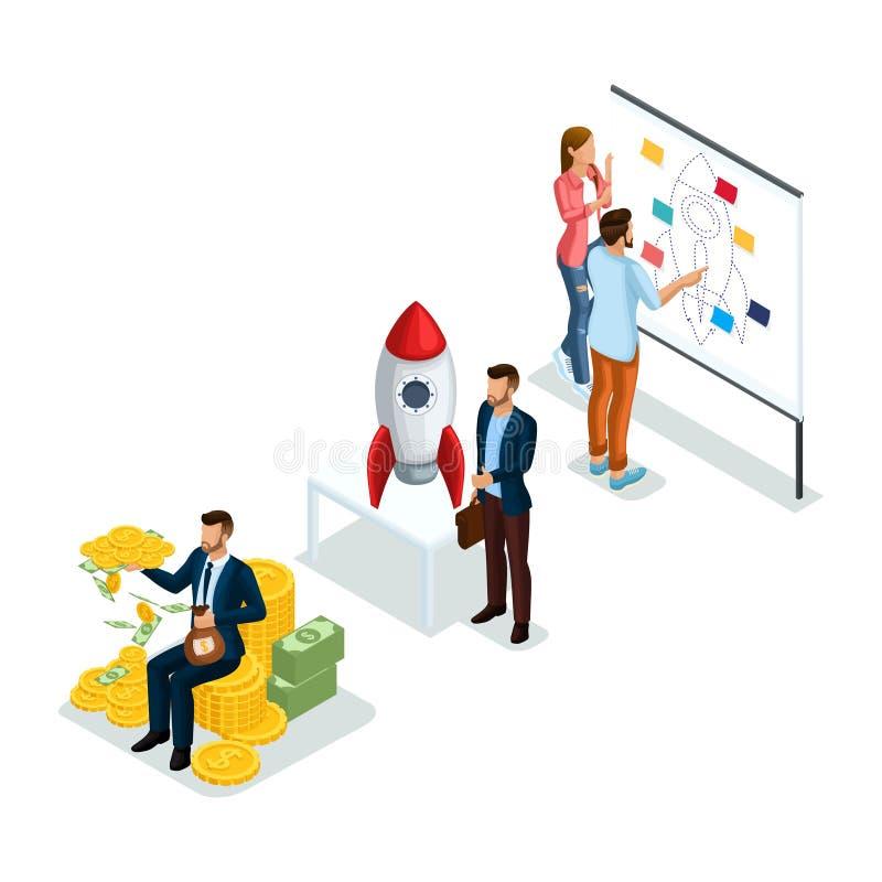 Isometrische Voorwerpen, 3d pictogram Jonge Ondernemers, nieuw opstarten van bedrijvenproject voor investeerders om op zoek naar  stock illustratie