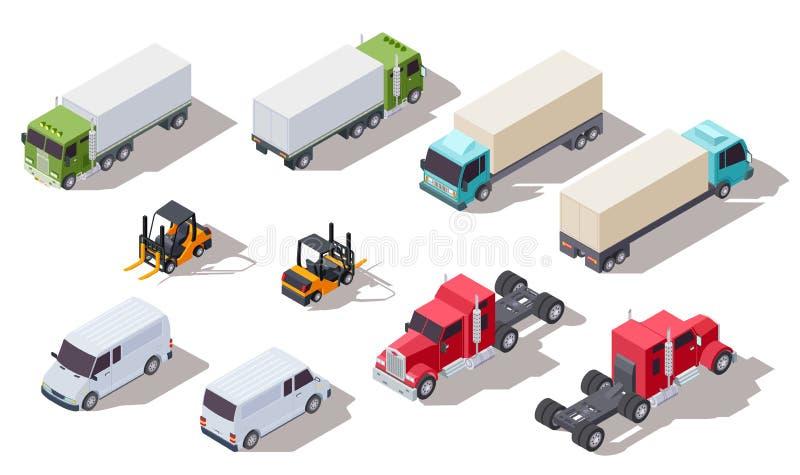 Isometrische vrachtwagen Vervoersvrachtwagens met container en bestelwagen, vrachtwagen en lader Vector 3d voertuigeninzameling vector illustratie