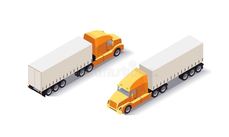 Isometrische Vrachtwagenaanhangwagen met goederen Lading die voertuig op witte achtergrond leveren Snel verschepend tranport Vlak vector illustratie