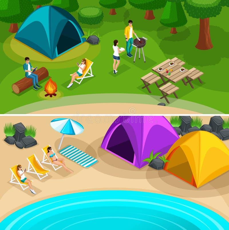 Isometrische wandernde Expeditionsreise, 2 horizontale Webseitenfahnen mit kampierenden Ferien des Wochenendenfreund-Picknicks, V vektor abbildung