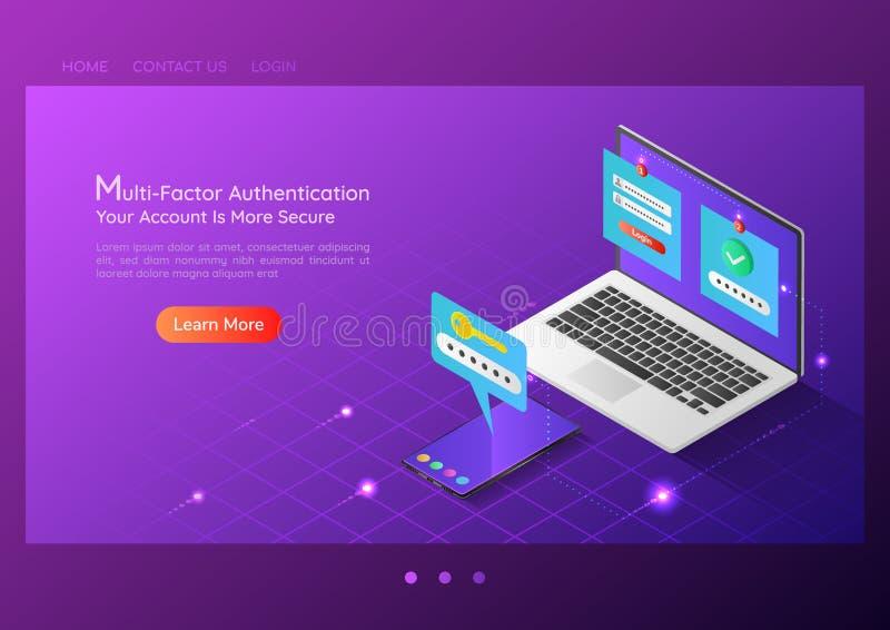 Isometrische Webbanner twee het systeem van de stappencontrole op laptop en smartphone royalty-vrije illustratie