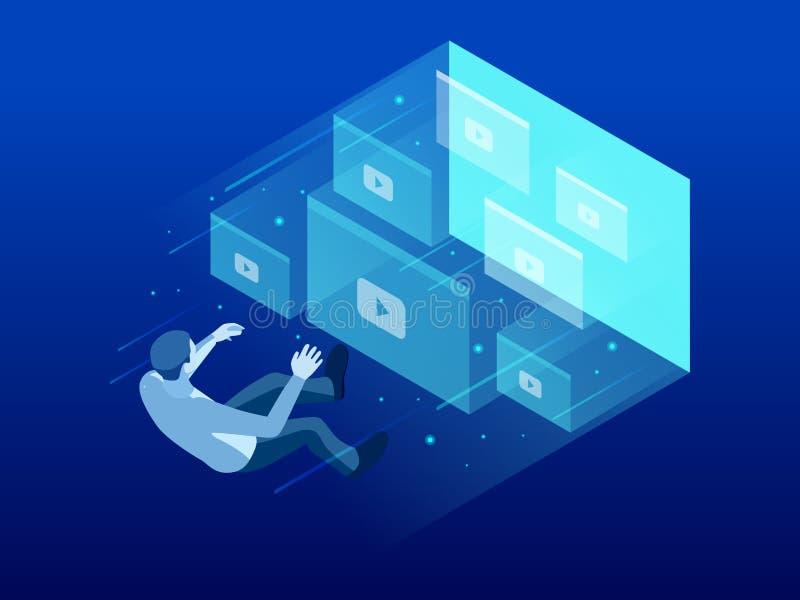 Isometrische webinar conferentie, online video opleiding, leerprogramma podcast, stromend, webinar, video'sconcept vector illustratie