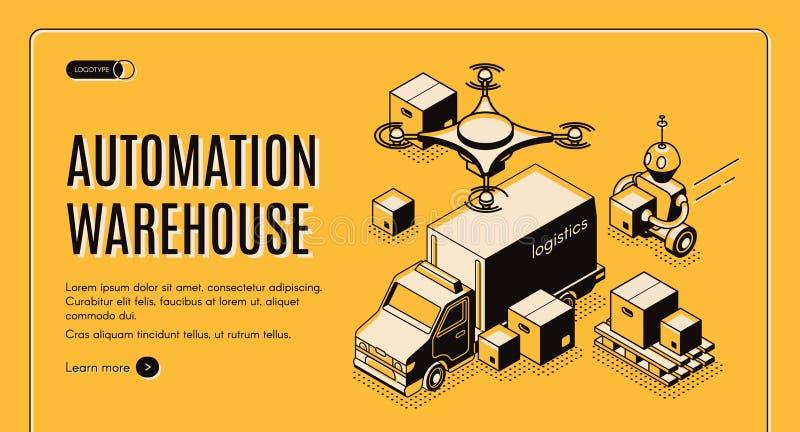 Isometrische Website der Lieferungslager-Automatisierung stock abbildung