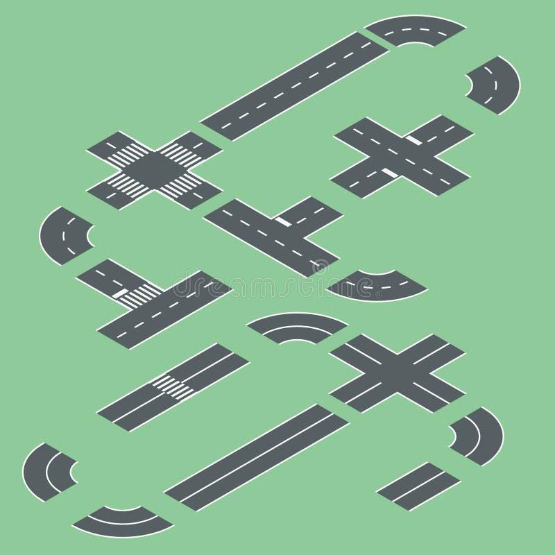 Isometrische wegelementen vector illustratie