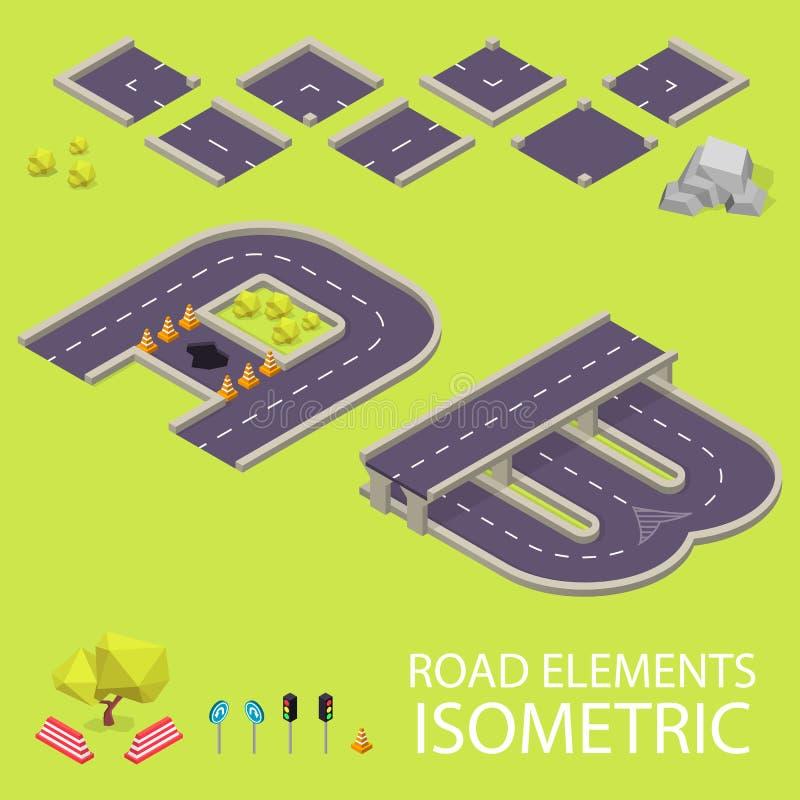 Isometrische wegelementen Wegdoopvont Brieven A en stock illustratie