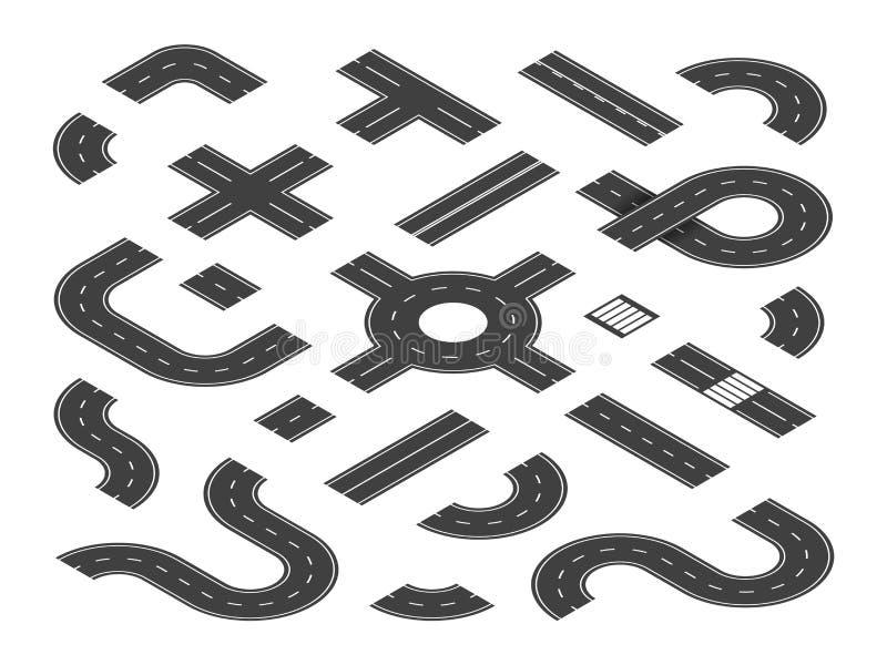 Isometrische wegen De wegverbindingen van de verkeersstraat, de elementen van de wegkaart De stad leidt 3d vectorreeks vector illustratie