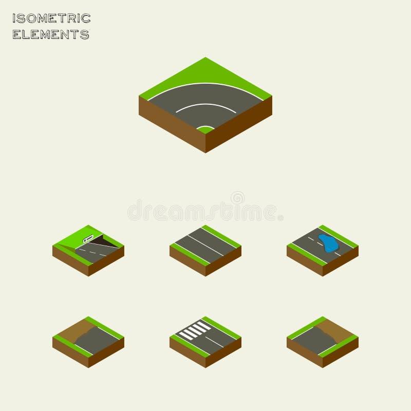 Isometrische Wegreeks Vlakte, Strook, ondergronds en Andere Vectorvoorwerpen Omvat ook Asfalt, Metro, Plash Elementen stock illustratie