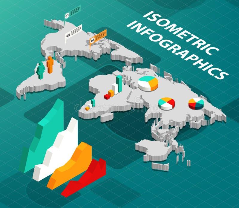 Isometrische Wereldkaart met Zaken Infographics stock illustratie