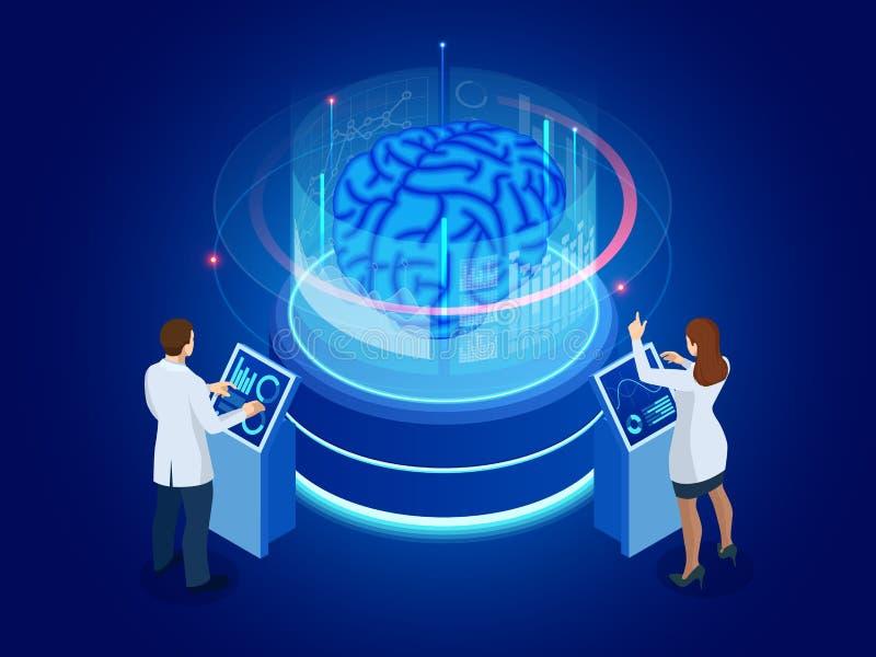 Isometrische wetenschappelijke ontwikkeling van Kunstmatige intelligentieconcept Elektrische hersenen Laboratorium die hersenen o stock illustratie