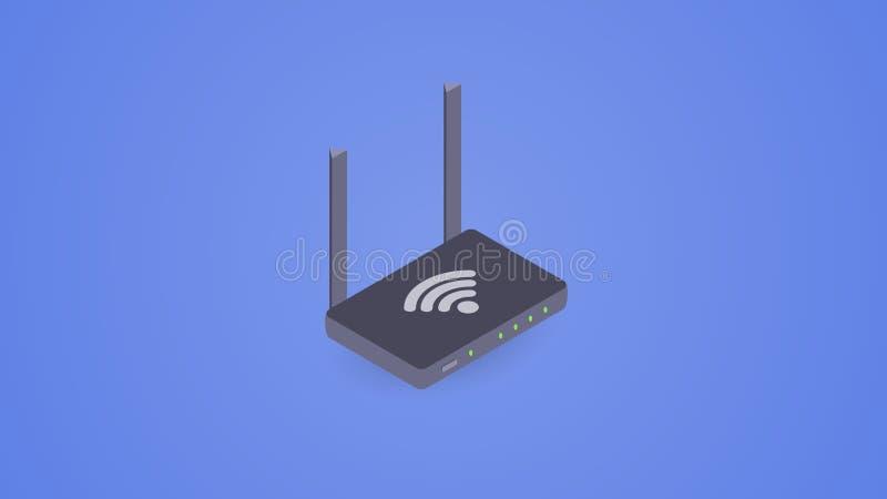 Isometrische WiFi-router auteursillustratie in vector royalty-vrije illustratie