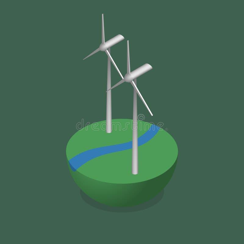 Isometrische Windmolens op Groene Grond met een Rivier vector illustratie