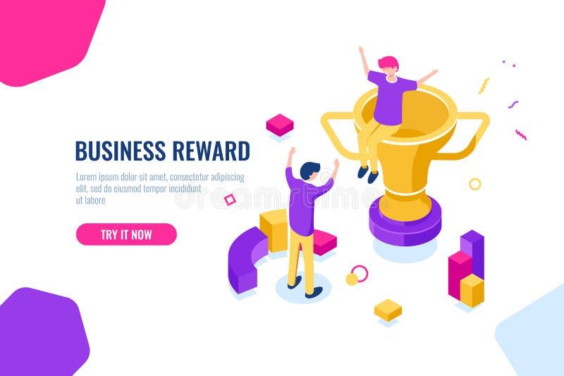 Isometrische winnaar de beloning, bedrijfssucces, gouden kop, mensen is gelukkig om hun handen op te steken, voltooiing en royalty-vrije illustratie