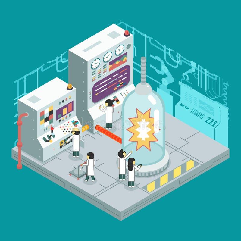Isometrische wissenschaftliche Laborexperiment-Erfahrungswissenschaftler bearbeiten Bedienfeldanalyse-Produktionsentwicklung lizenzfreie abbildung
