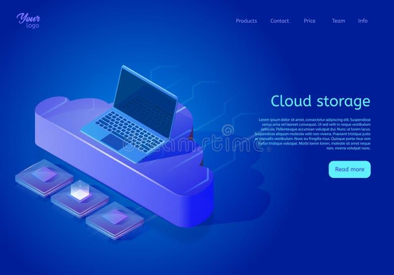 Isometrische Wolkendatenspeicherungs-Webseitenschablone lizenzfreie abbildung