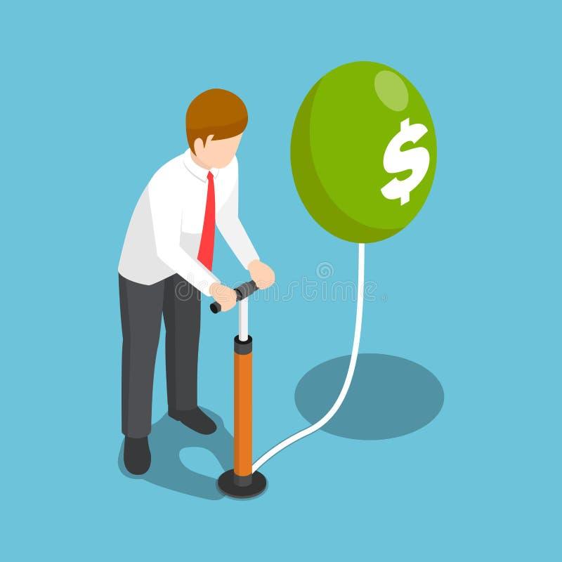 Isometrische zakenman die een dollarballon blazen door luchtpomp vector illustratie
