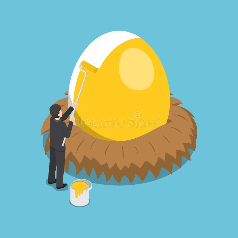 Isometrische zakenman die gouden kleur op het ei schilderen royalty-vrije illustratie