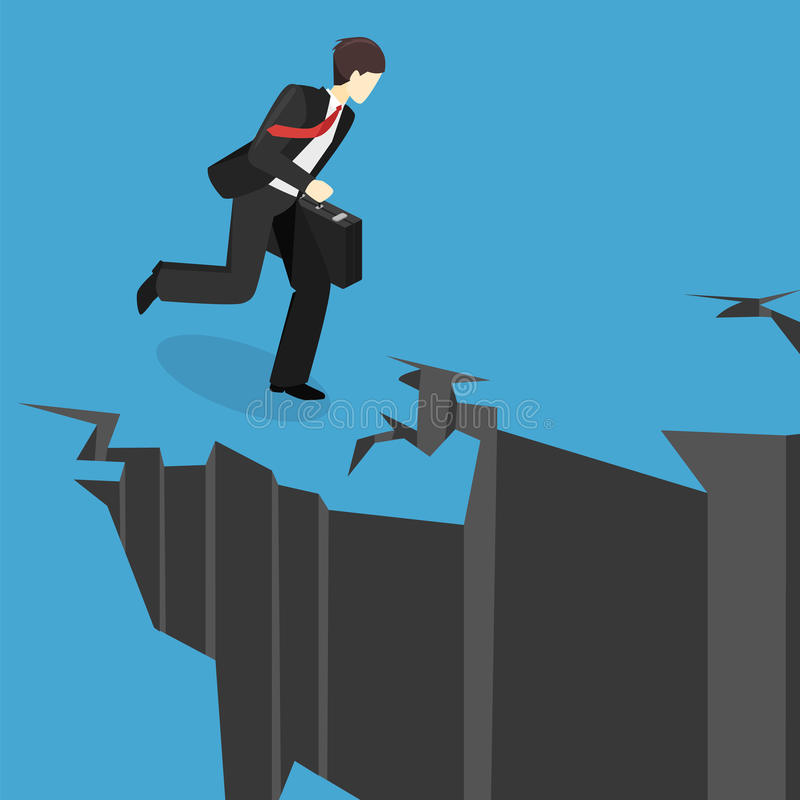 Isometrische zakenman die het kloof tegenkomen De mens ziet moeilijkheden onder ogen vector illustratie