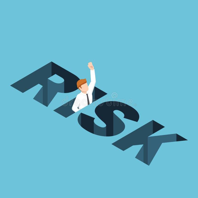 Isometrische zakenman die in het risicogat vallen stock illustratie