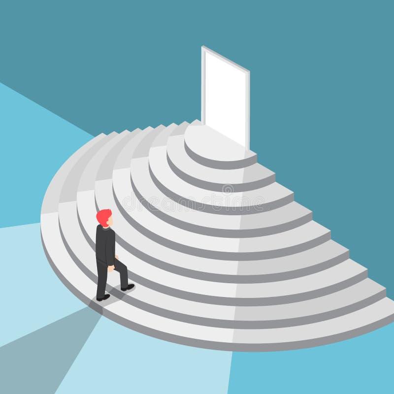 Isometrische zakenman die omhoog trap lopen aan de deur stock illustratie
