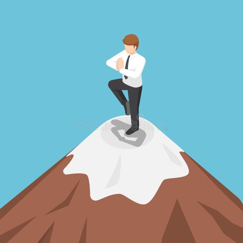 Isometrische zakenman die yoga op de bovenkant van berg doen stock illustratie