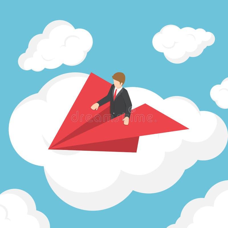 Isometrische zakenman op document vliegtuig boven de wolk royalty-vrije illustratie