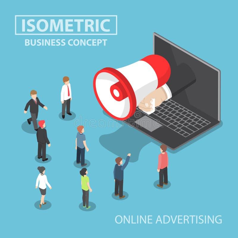 Isometrische zakenmanhand met luidspreker die uit plakken vector illustratie