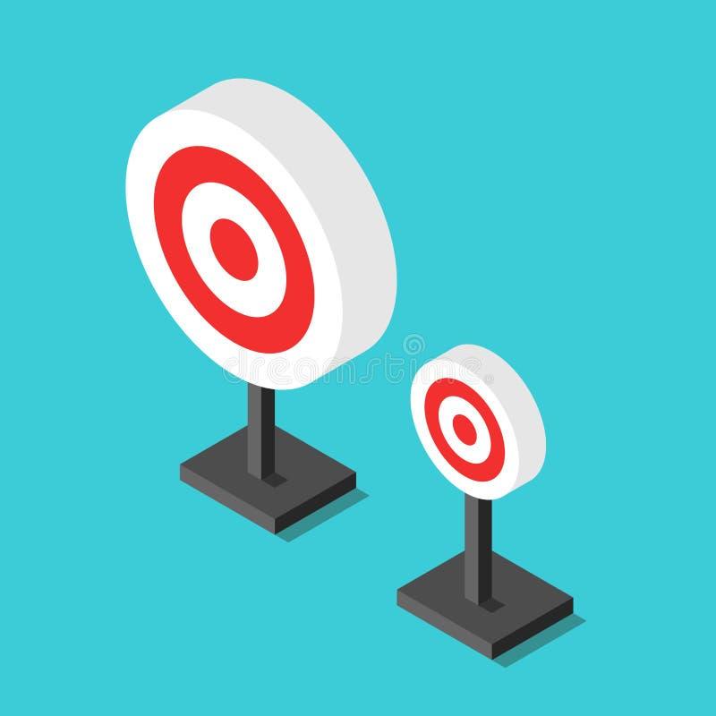 Isometrische Ziele, groß, klein stock abbildung