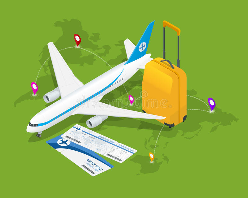 Isometrische Zusammensetzung der Reise Reise- und Tourismushintergrund Flache Illustration des Vektors 3d Reisefahnendesign Reise lizenzfreie abbildung
