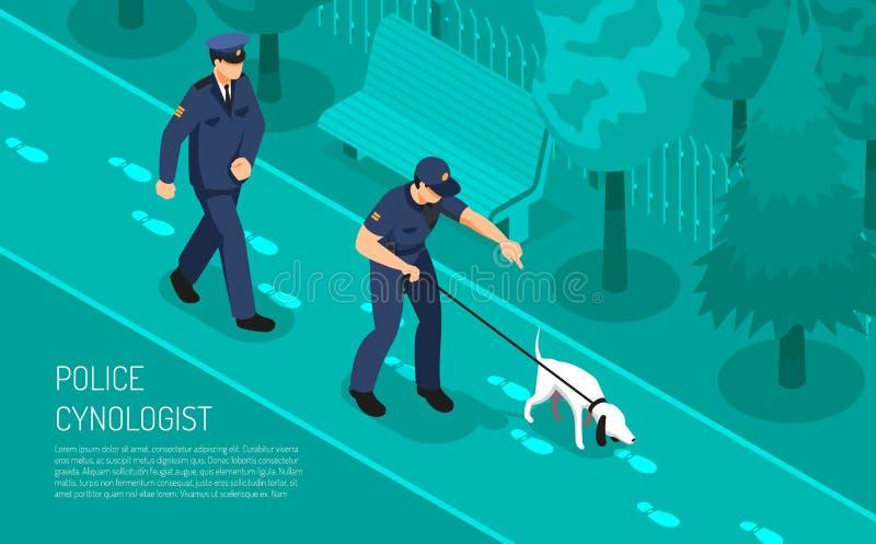 Isometrische Zusammensetzung Polizei Cynologist lizenzfreie abbildung