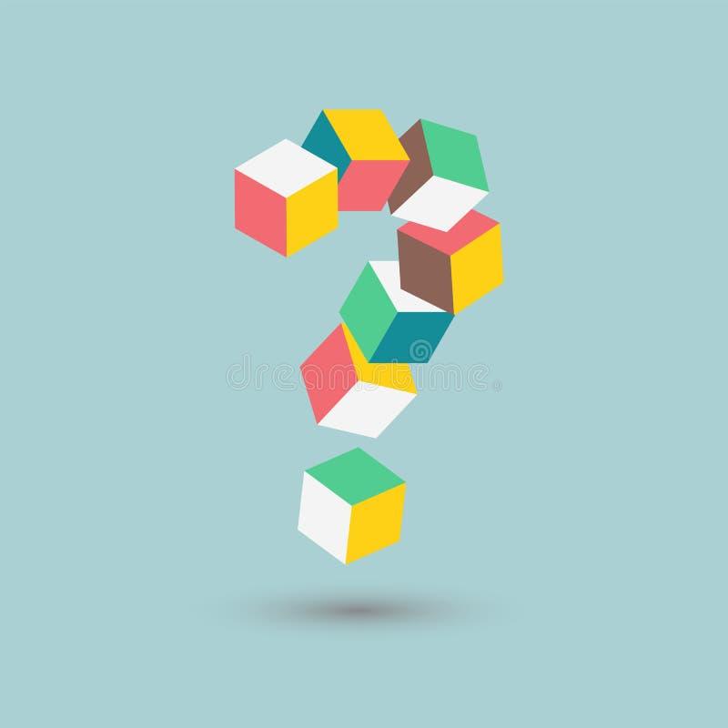 Isometrische Zweifel, schwieriges Puzzlespiel, Fragezeichen berechnet Form, Vektorillustration stock abbildung