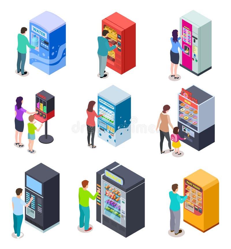 Isometrischer Automat und Leute Kunden kaufen Imbisse, Sodagetränke und Karten in den Automaten Ikonen des Vektor-3D lizenzfreie abbildung
