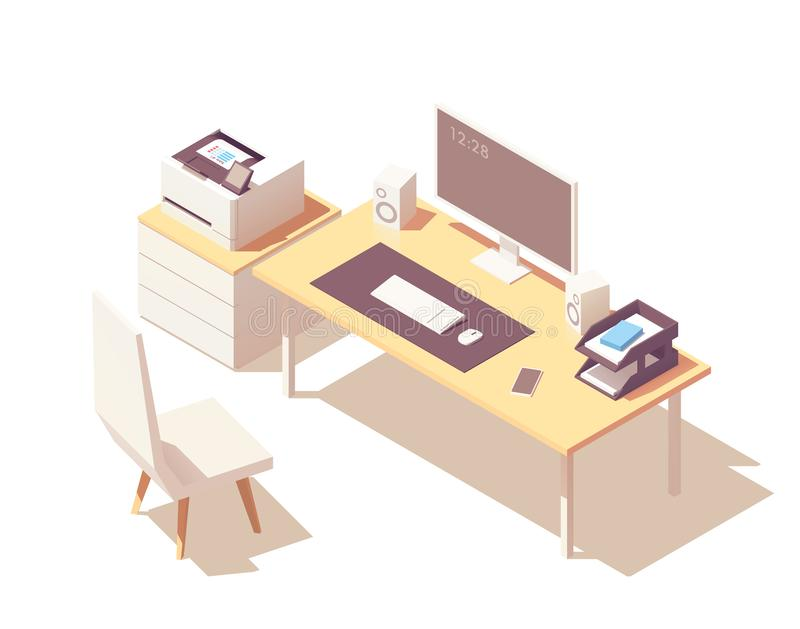 Isometrischer Büroraum des Vektors lizenzfreie abbildung