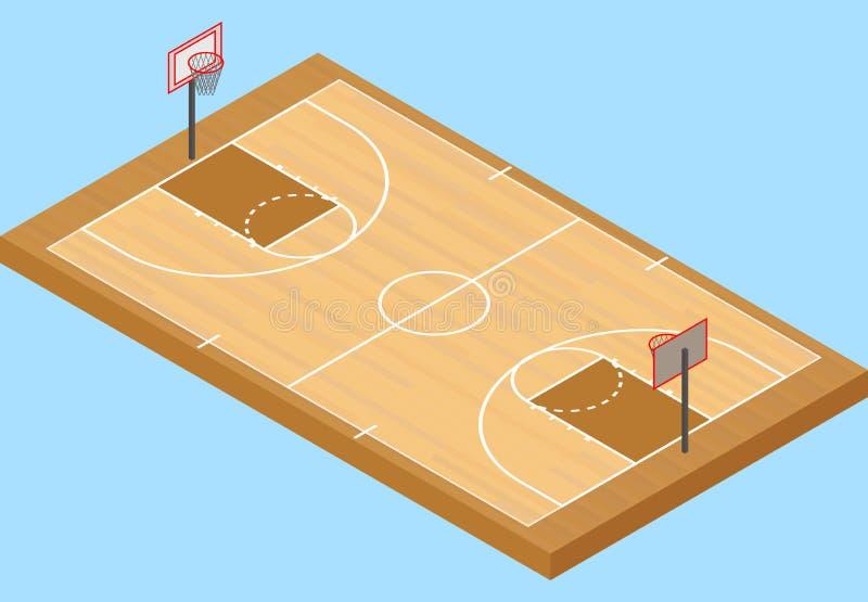 Isometrischer Basketballplatz, mit Boden und Basketballkorb lizenzfreie abbildung